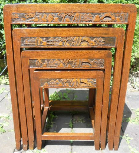 Oriental Carved Hardwood Nest of Four Coffee Tables